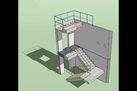 3. Precast stairs and lower landings are positioned. Only the top landing is cast in situ